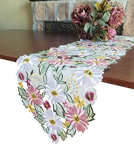 GRANDDECO Embroidered Flowery Table Runner,Applique Floral Daisy Cutwork Embroidered Table Linen, Home Kitchen Dining Tabletop Decoration, Runner 13