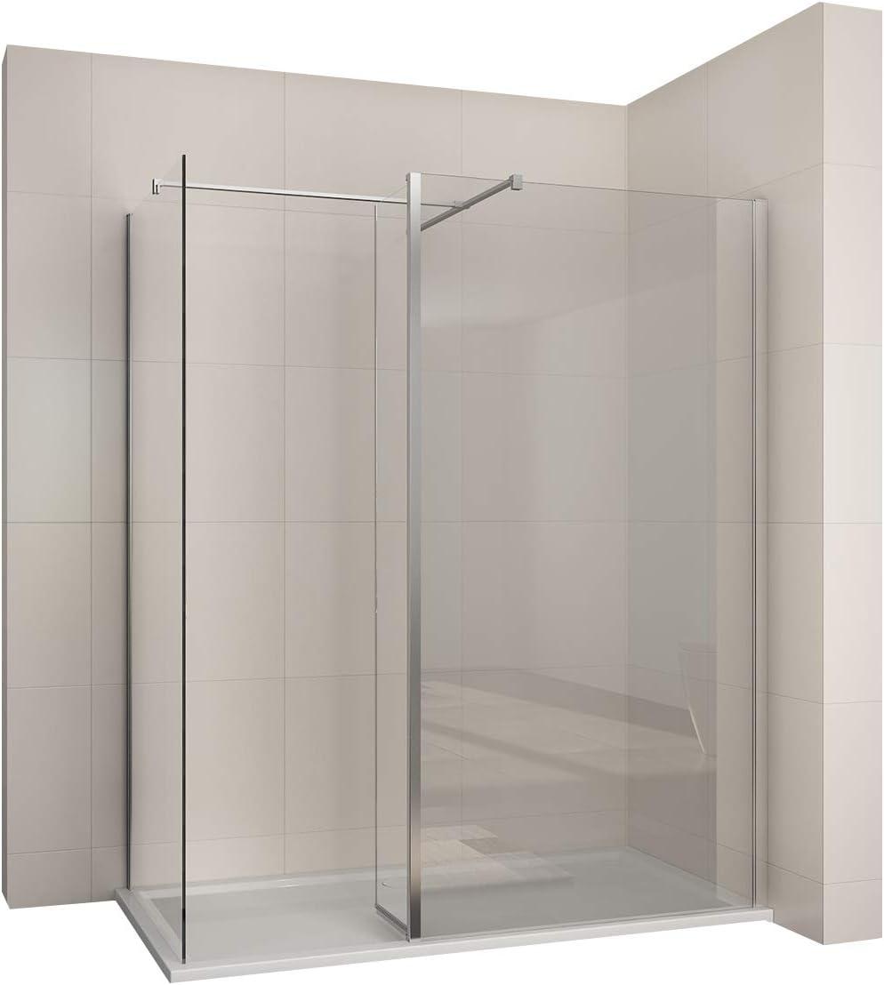 Walk in Mampara Walk In ducha cabina de ducha de pared con 30 cm puerta abatible: Amazon.es: Bricolaje y herramientas