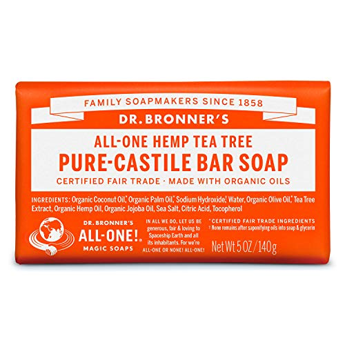 Dr. Bronner's - Pure-Castile Bar Soap (Tea Tree, 5 ounce) - Made with Organic Oils, For Face, Body, Hair and Dandruff, Gentle on Acne-Prone Skin, Biodegradable, Vegan, Non-GMO