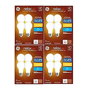 GE Relax 60 W Equivalent Dimmable Warm White A19 LED Light Fixture Light Bulbs (16-Pack)