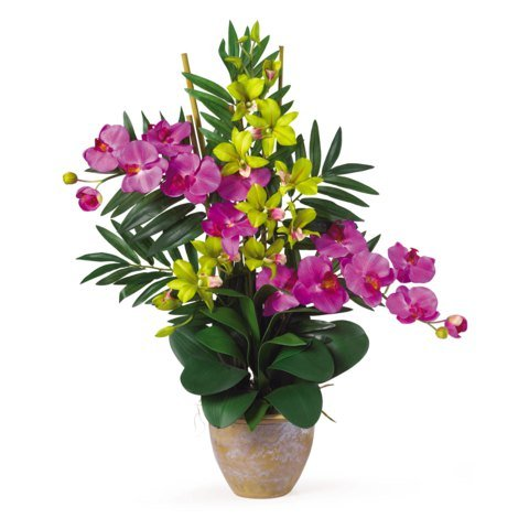 Nearly Natural Double Phal/Dendrobium Silk Flower Arrangement Orchid/Green