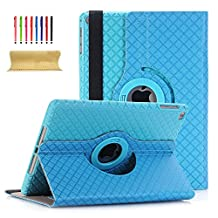 iPad Air 2 9.7 Inch Case, UUcovers 360 Degree Rotating Folio Stand Case Synthetic Leather & Hard PC Cover [Auto Wake/Sleep] with hand strap Card Slots for Apple iPad Air 2 (iPad 6) (A1566 A1567,2014 Model), Skyblue