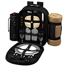 Picnic at Ascot Classic Backpack for 2 with Blanket, Black and Gingham