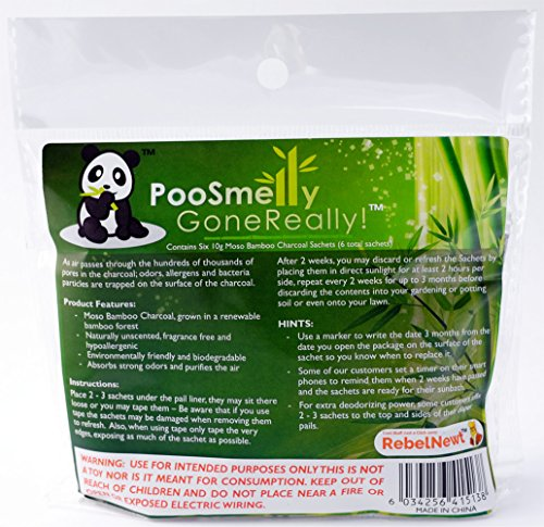 PooSmelly GoneReally! Moso Bamboo Charcoal Diaper Pail Deodorizers - 6 Sachets