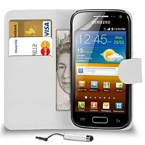 DMA Samsung Galaxy Ace 2 i8160 cuero blanco tirón de la carpeta del caso de la cubierta Pouch + Mini Touch Pen Stylus + Protector de pantalla y paño de pulido
