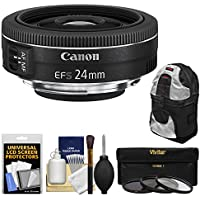 Canon EF-S 24mm f/2.8 STM Wide Angle Lens with Backpack + 3 Filters + Kit for EOS 70D, 7D, Rebel T3, T3i, T5, T5i, SL1 DSLR Camera