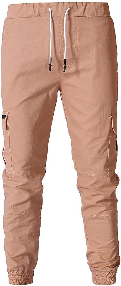 Men Casual Solid Color Multi-Pocket Sweatpants Drawstring Elastic Waist Long Pants Slim Fit Beam Foot Trousers