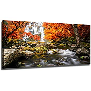amazon com yearainn canvas wall art waterfall red forest large