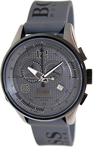Hugo Boss 1512800 Grey Rubber Logo Strap Men's Watch