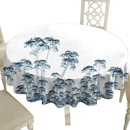 Clear Round Tablecloth 70 Inch Flower,X-ray Photo of a Tropical Forest Exotic Trees Plants Nature Negative Art Print,Teal and White Perfect for Spring,Summer,Farmhouse Décor,& More
