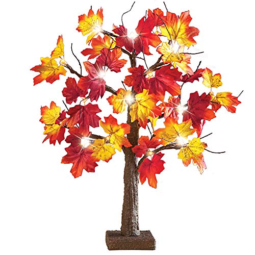 Collections Etc Lighted Fall Maple Leaf Tree by Collections Etc