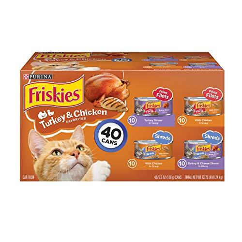 Purina Friskies Gravy Wet Cat Food Variety Pack; Prime Filets & Shreds Turkey & Chicken Favorites - (40) 5.5 oz. Cans