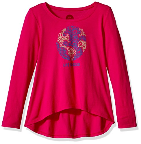 Life is Good Girl's G Long Sleeve Sc World Peace Poppnk T-Shirt, Pop Pink, Small