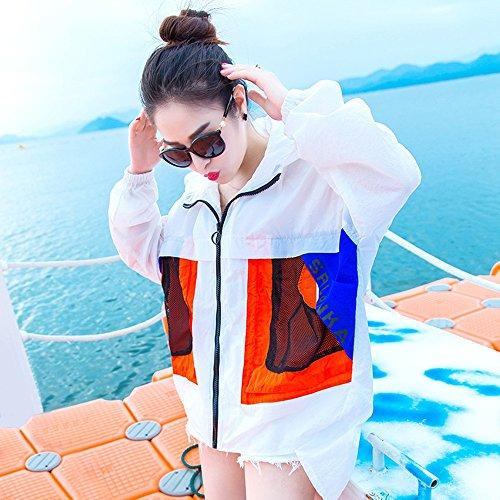 QFFL fangshaifu 夏のルーズカジュアル薄い日の保護の服/女性ロングセクションファッション学生のコート/クリエイティブステッチカラーサンプロテクション(2色可能) (色 : B, サイズ さいず : M)