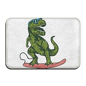 Non Slip Absorbent Bath Mat Happy Dinosaur Surfer Wearing Sunglasses Drawing Welcome Floor Mats