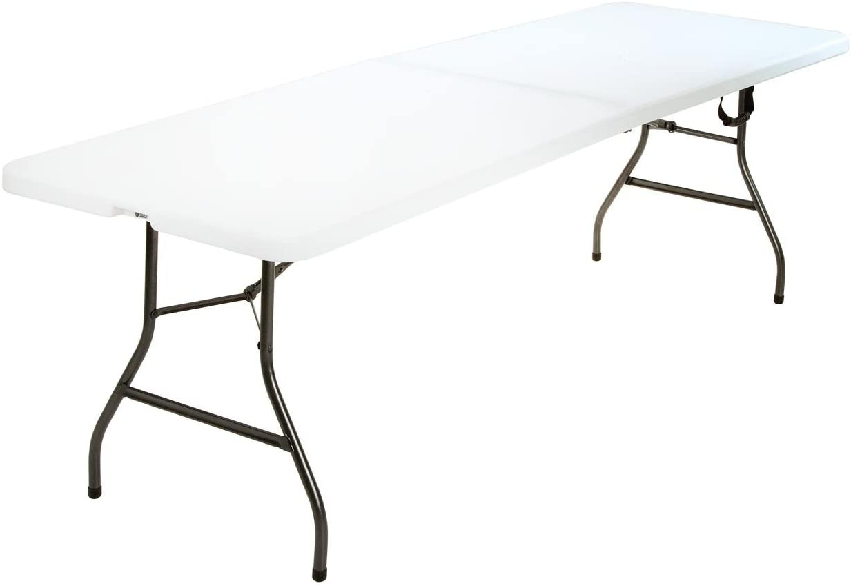 Cosco Deluxe Half Blow Molded Folding Table White 8 Foot X 30 Inch Amazon Co Uk Garden Outdoors