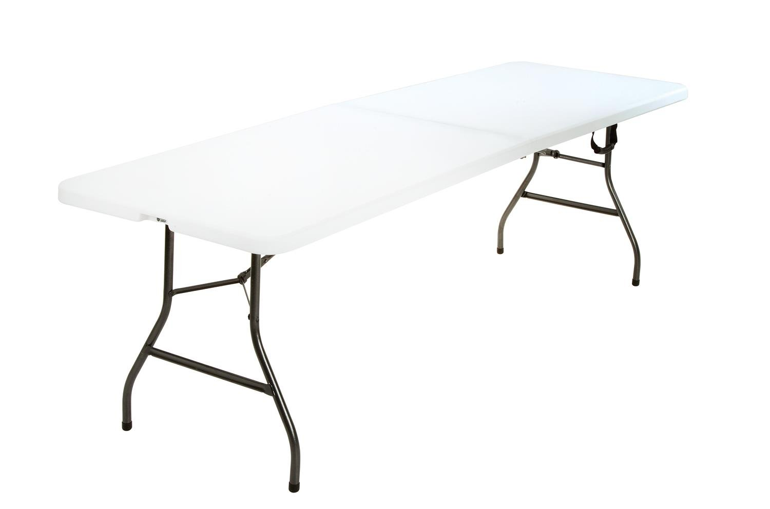 COSCO Deluxe 8 foot x 30 inch Fold-in-Half Blow Molded Folding Table, White