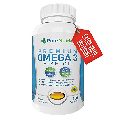 Omega 3 Fish Oil Supplement - 2500mg Fish Oil 860mg EPA 650mg DHA - Supports Healthy Heart and Joint Pain Relief Lemon Flavor Mercury Free Omega 3 Softgels Pharmaceutical Grade Fish Oil (180 Softgels) - Fish Oil 3000 Mg Epa