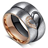 """Global Jewelry Brand New Amazing Titanium Stainless Steel """"We Love Each Other"""" Wedding Band Set Anniversary/engagement/promise/couple Ring Best Gift! (Lady's Ring: Size 9)"""