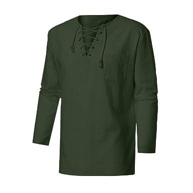 9742566ffcc Sunhusing Fashion Men s Retro Casual Cross Straps Lace-Up V-Neck Cotton  Linen Long