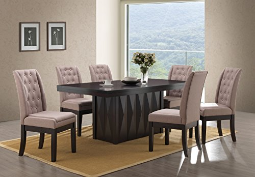 Kings Brand Furniture 7-Piece Rectangular Dinette Dining Room Set, Table & 6 Chairs, Walnut