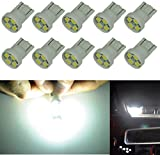 Cutequeen 10PCS LED Car Lights Bulb White T10 2835 4-SMD 80 Lumens 194 168 (pack of 10)