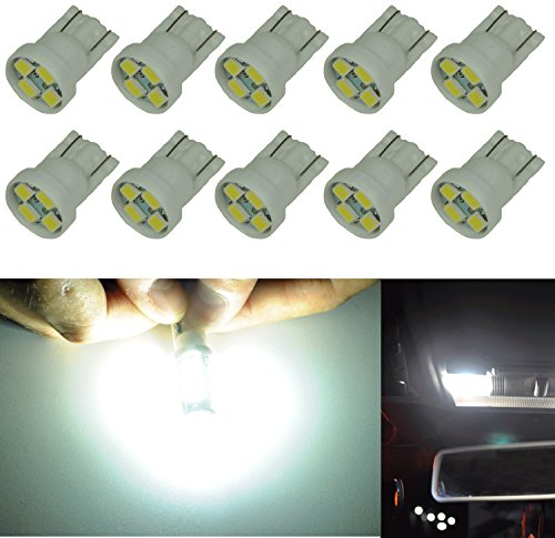 Bulb T10 White (Cutequeen 10PCS LED Car Lights Bulb White T10 2835 4-SMD 80 Lumens 194 168 (pack of 10))