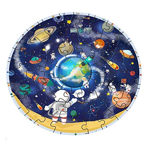 (Hisoul Wooden Jigsaw Puzzles for Kids 48 Pieces - Desktop Games Fun Solar System Puzzle with Wooden Table Frame Earth Mars Sun Jigsaw Toy - for Ages 3 Years and Older)