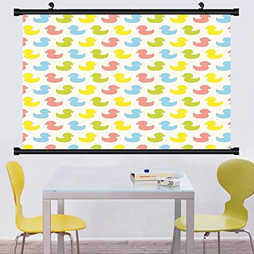 Gzhihine Wall Scroll Rubber Duck Wall Hanging Little Duckling Toy Swimming Pond Pool Sea Sunny Day Floating on Water Print Decor Blue Yellow - Sunnies Signed Print