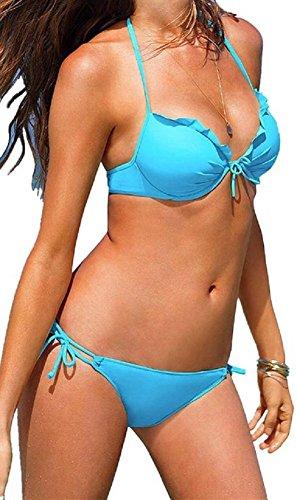 Embryform atractivo de las mujeres empuja hacia arriba el acolchado de baño bikini Azul