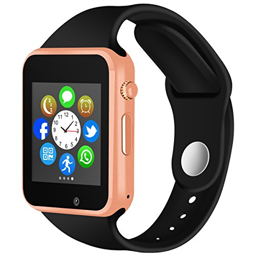 Padcod Bluetooth Smart Watch GSM Phone Watch with Camera for Android Smartphones (Gold + Black)