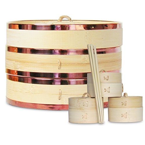 10 inch Bamboo Steamer Set 2 Tier Large Bamboo Steamer Basket - Unique Antique COPPER Color Stainless Steel Banding - Vegetables Dim Sum Dumplings + Mini Chinese Steamers, Chopsticks, Filter Papers (Steamer Set Bamboo)