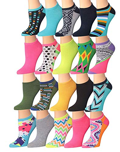 - Tipi Toe Women's 20 Pairs Colorful Patterned Low Cut/No Show Socks (NS66-94)