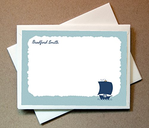 Personalized Ship Note Cards (40 Non-foldover Cards and Blank Envelopes)