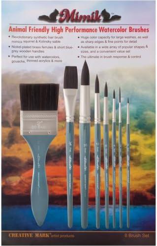 Size 10 Creative Mark Mimik Paint Brush Professional Artist Synthetic Hog Bristle Long Handled Brush Bright