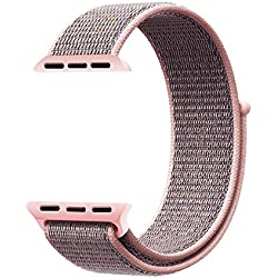 QIENGO Qifit New Nylon Sport Loop with Hook and Loop Fastener Adjustable Closure Wrist Strap Replacment Band for iwatch Apple Watch Series 1 /2 / 3,38mm,Pink Sand