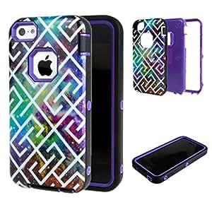 Para iphone 5 5S , ivencase Maze Patrón 3 in 1 Rugged Hybrid Layer Slim Bumper Protector Defender Funda Carcasa Tapa Case Cover Para Apple iphone 5 5S Púrpura