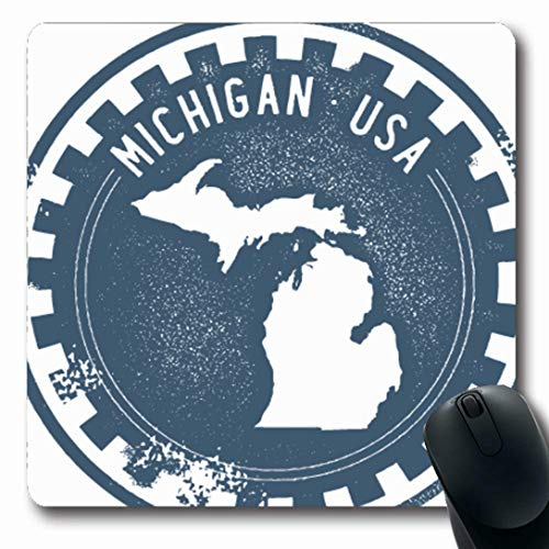 (Ahawoso Mousepads for Computers Map Vintage Michigan USA State Stamp Outline Ann Arbor Badge Classic Oblong Shape 7.9 x 9.5 Inches Non-Slip Oblong Gaming Mouse Pad)