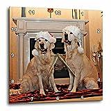 3dRose Sandy Mertens Christmas Animals - Two Golden Retrievers in Santa Hats by the Fireplace - 10x10 Wall Clock (dpp_269522_1)
