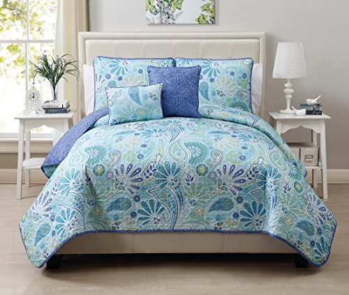 picture of VCNY Harmony 5-Piece Reversible Quilt Set, Full/Queen, Blue