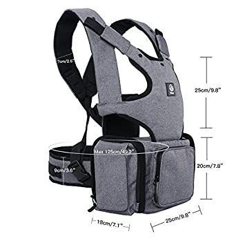 Large Pocket 360 Ergonomic Baby Carrier with Hip Seat for Infant Toddler and Multi-Function Baby Diaper Bag Backpack, Perfect Baby Shower Gift, Carbon Grey