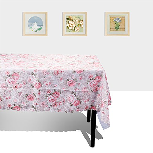 """TtoyouU Floral Fabric Tablecloth Table Cover Table Linen 55 inch by 72 inch (55""""72"""", Pink Flowers)"""