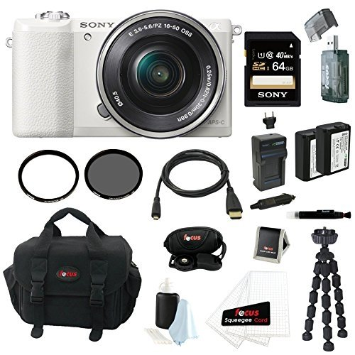 Sony Alpha a5100 ILCE5100 ILCE5100L/W with 16-50mm Lens 24MP Mirrorless Interchangeable Lens Digital Camera (White) + Sony 64GB Class 10 Memory Card + 2 Wasabi NP-FW50 Batteries w/ Charger + Tiffen UVP & CP Filter + Micro HDMI Cable + Accessory Bundle