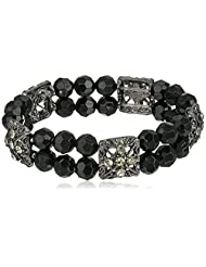 1928 Jewelry Double Beaded Black and Crystal Stretch Bracelet, 7""