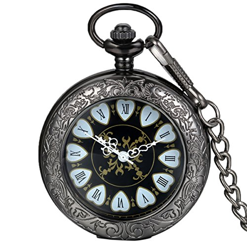 Avaner Men's Unisex Retro Black Carving Transparent Hunter Heart Roman Numerals Analog Mechanical Hand Wind Pocket Watch ()