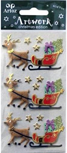 Artoz Artwork 3D Motiv-Sticker christmas edition 185500-191 handmade teilweise mit Glitter verziert Motive: Rentier mit Schlitten Sterne Rentier mit Schlitten 1