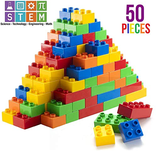 Prextex 50 Piece Classic Big Building Blocks STEM Toy Bricks Set Compatible with All Major Brands Perfect Beginner Pack or Bricks Refill Set for All Ages ()