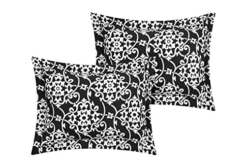 Perfect Home 24 Piece Orinda Complete Pleated ruffles and Reversible Printed Queen Bed In a Bag Comforter Set with window treatement, Black. Sheets Included by Perfect Home (Image #3)