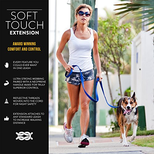 Picture of EzyDog Soft Touch Dog Leash Adjustable Extension - Ranges from 14 to 24 Inches and Reflective for Nighttime Safety - Strong Metal Attachment Points for Superior Strength and Comfort (Black)