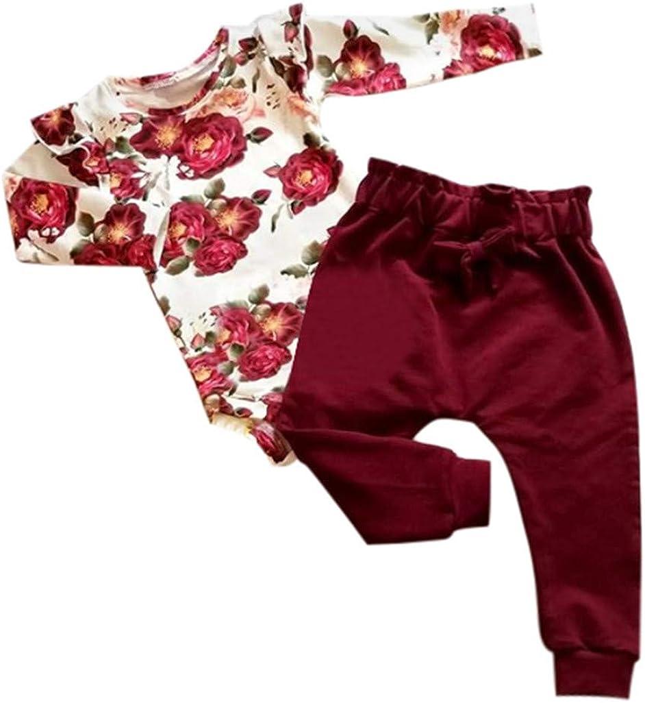 2 St/ücke Jungen Kinder M/ädchen Langarm R/üschen Blumenhemd Tops Bownot Hosen Outfit